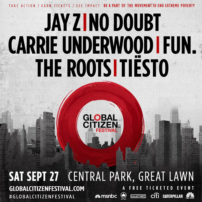 Global Citizen Festival Jay Z No Doubt Tiesto and More