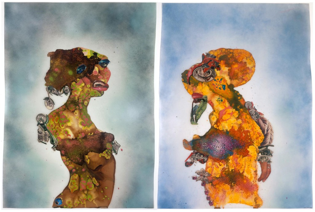 Wangechi Mutu You Love Me, You Love Me Not (diptych) 2007 ink, paint, mixed media, plant material and plastic pearls on mylar image courtesy of the Sindika Dokolo Foundation
