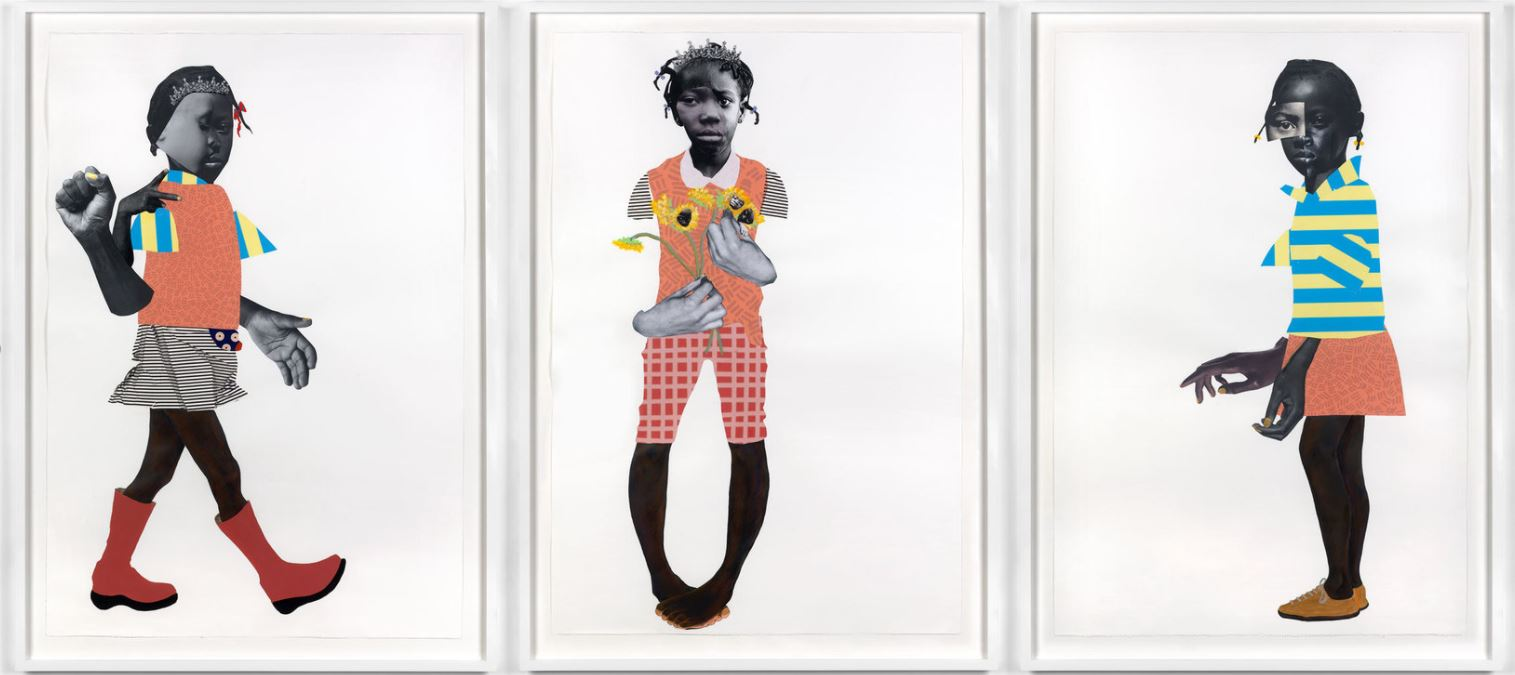 Deborah Roberts, 'Either by the hawk or by the dove; I am the seed and the bloom; Sewed together', 2018