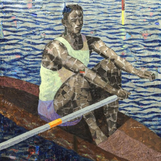Derek Fordjour, Rower2019. Acrylic, charcoal, and oil pastel on newspaper mounted on canvas, 183 × 121 cm.