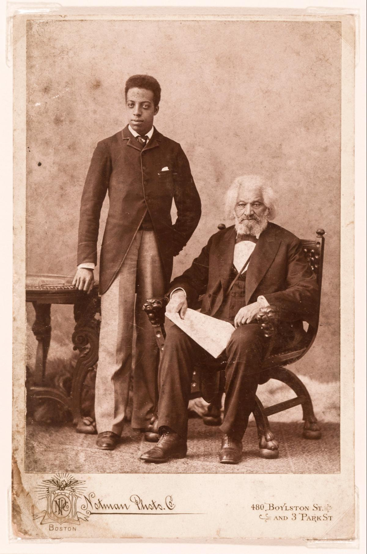 "Unknown photographer, ""Joseph Henry Douglass and Frederick Douglass,"" May 10, 1894, cabinet card photograph. Collection of Walter and Linda Evans, Savannah, Georgia."